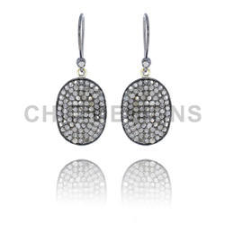 Diamond Oval Disc Hook Earrings