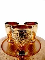House2 home Gold Copper Glass Set With Tray