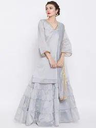 7d8cce9edc Beautiful Designer 3 Pc Chanderi Party Wear Set