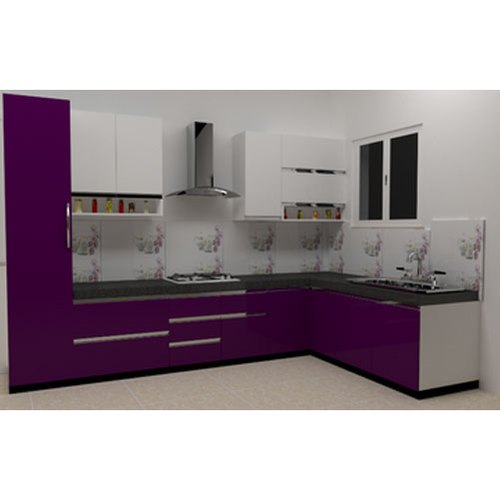 Wooden Modern L Shape Modular Kitchen Rs 150000 Unit Mangal Kitchen Interiors Id 21418775362