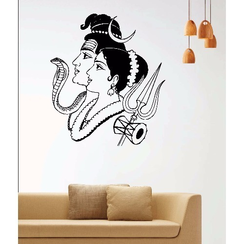 pvc lord shiva with parvati wall stickers, size: 22 x 19 inch, rs