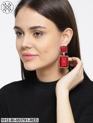 Red & Gold-Toned Handcrafted Geometric Drop Earrings