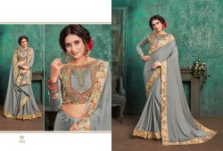 Stylish Georgette Exclusive Collections of Embroidered Sarees, With blouse piece, 5.5 m (separate blouse piece)