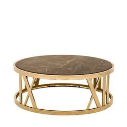 Gold Round Stainless Steel Designer Coffee Table, Material Grade: Ss202
