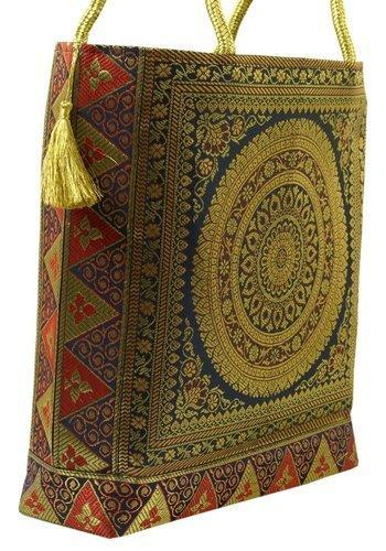 Shivam Arts Banarasi Silk Brocade Hand Bag