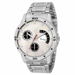 Round Mens Silver Chronograph Analog Wrist Watches