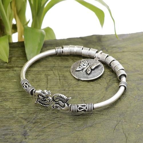 92 5 Solid Sterling Silver Oxidize Peacock Bangle With Butterfly