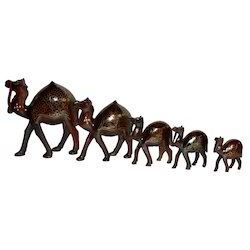 Wooden Camel Set With Brass Work