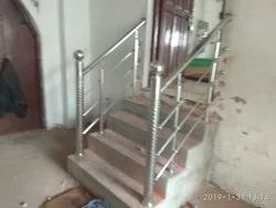 Silver Stainless Steel Stair Railing, For Home