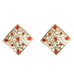 Prystal Square Hand Crafted Fashion Earring, Size: Free