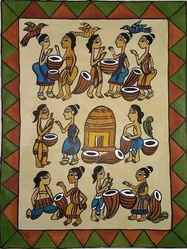 Handmade Natural Earth Colours Jadopatiya Tribal Folk Painting of  Jharkhand, Size: 15x11 In, Rs 850 /piece | ID: 21578772348