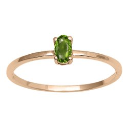 Stackable Pure Fine Gold 9k Peridot Gemstone Women Engagement Ring