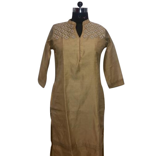 Medium Straight Ladies Designer Silk Kurti