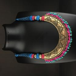 Multicolor Brass Plated Antique Thread Necklace, Size: Free Size