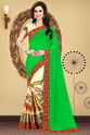Parrot Green And Beige Color Designer Half And Half Georgette Saree