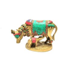 Brass Colored Cow And Calf Statue