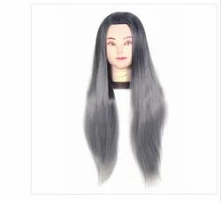 31 Inch Synthetic Hair Practice Dummy Feel Natural Hair Black & Gray Mix Color
