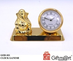 Golden Brass Ganesh Clock, For Promotional Gifts, Don't Wash