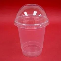 Transparent Plain Disposable Glass With Lid, Capacity: 300 Ml