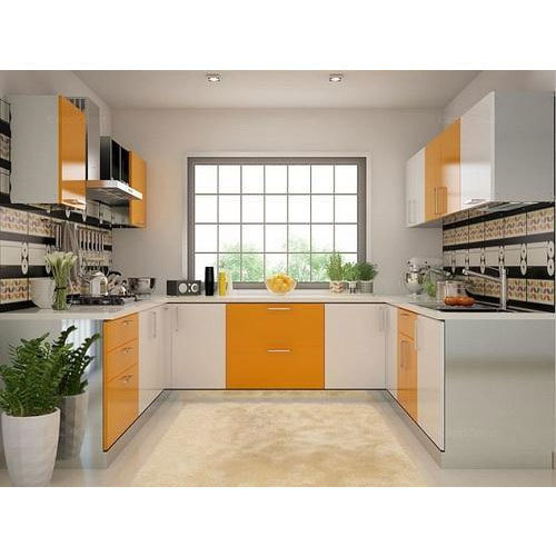 Vaada Pink Yellow Ss U Shaped Modular Kitchen Rs 99999 Set Id