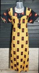 Yellow Cotton Nighty Gown, Size: Large