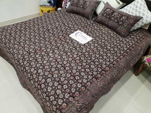 6015a70fd1d Brown Floral Print 100% Cotton Double Bedsheet Hand Block Print With Pillow  Cover