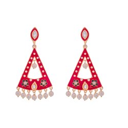 FLOWER RED MEENA EARRING