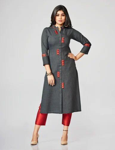 f9a907167c Cotton Black Modal Straight Cut Kurti, Rs 550 /piece, Fidaindia (A ...