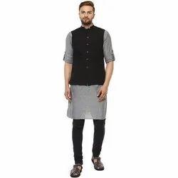 Party Wear Plain NN081 Mens Cotton Kurta Set, Size/Dimension: S-XXL