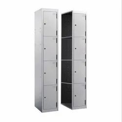 Powder Coated Grey Mild Steel Euro Locker Single Column 4 Door Starter / Add On, Size/Dimension: W 380 D 457 H 1830