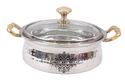 Indian Art Villa Stainless Steel 425 Ml Iuserving Handi Bowl With Glass Lid