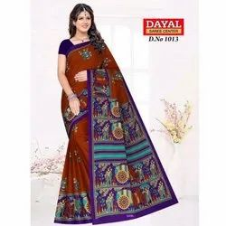 Ladies Cotton Printed Saree, Length: 5.5 m with Blouse Piece