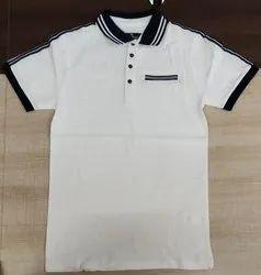 White Polo Men's Collar T-Shirt, Size: XL