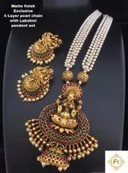 Matte Finish Alloy Pearl Jewellery Set - 100300100