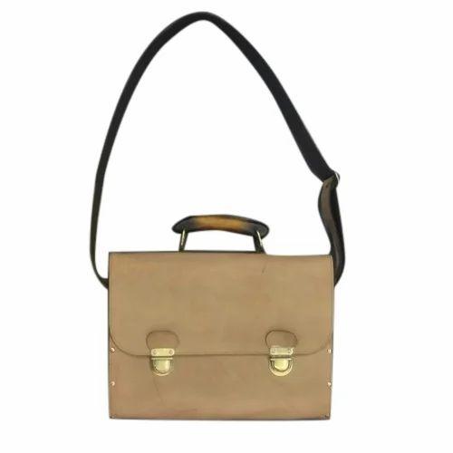 Plain Faux Leather Laptop Bag