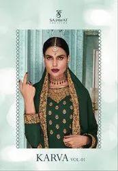 Textile Mall Presents Sajawat Creation Karva Vol-1 Designer Salwar Kameez Catalog Collection