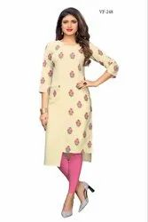 Fancy Flax Cotton Printed Kurti