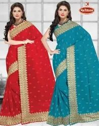Dyed Georgette Embroidery & Diamond Work Saree -Tapti