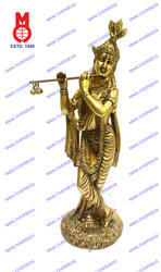 Lord Krishna Standing w/ Shawl On Rd. Base Statues