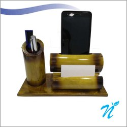 Bamboo Speaker Cum Penstand With Visiting Card Holder