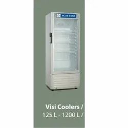 Stainless Steel Blue Star Glass Door Refrigerator, Capacity: 125-1200 L, Electricity
