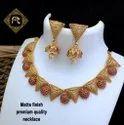 Matte Finish Copper Temple Jewellery Set - 100500100