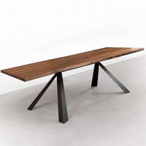industrial metal base dining table - wooden industrial furniture kfi
