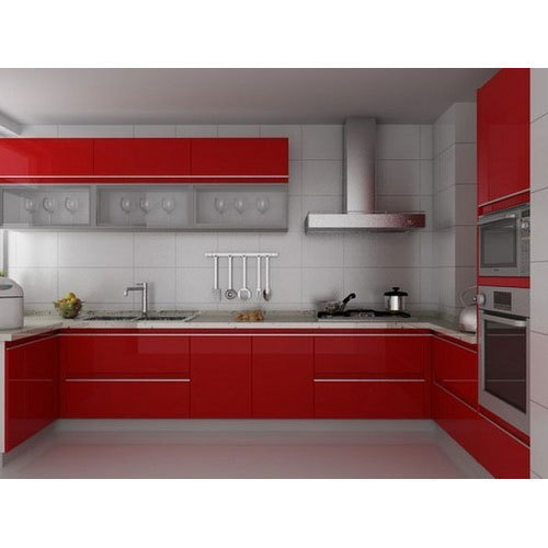 Modern Red U Shaped Modular Wooden Kitchen