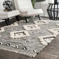 Wool And Cotton White Moroccan Rugs Boho Style, Size: Custom