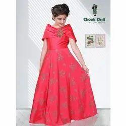 Printed Party Wear Girls Dark Peach Gown, Size: 24-36