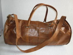 Genuine Leather Round Duffel Travel Bag