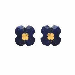 Four Leaf Lapis Lazuli Clover Stud Earrings