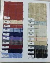 Checks Cotton/Linen Poly Viscose Suit Length Fabric, Dry clean