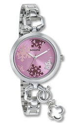 Silver Color Metal Pink Dial Stainless Steel Strap Watch